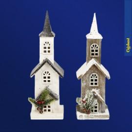 Eglise bois lumineuse 46cm