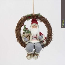 Couronne en bois avec père Noël